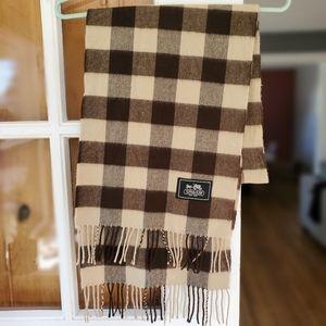 Coach checkered plaid fringe scarf